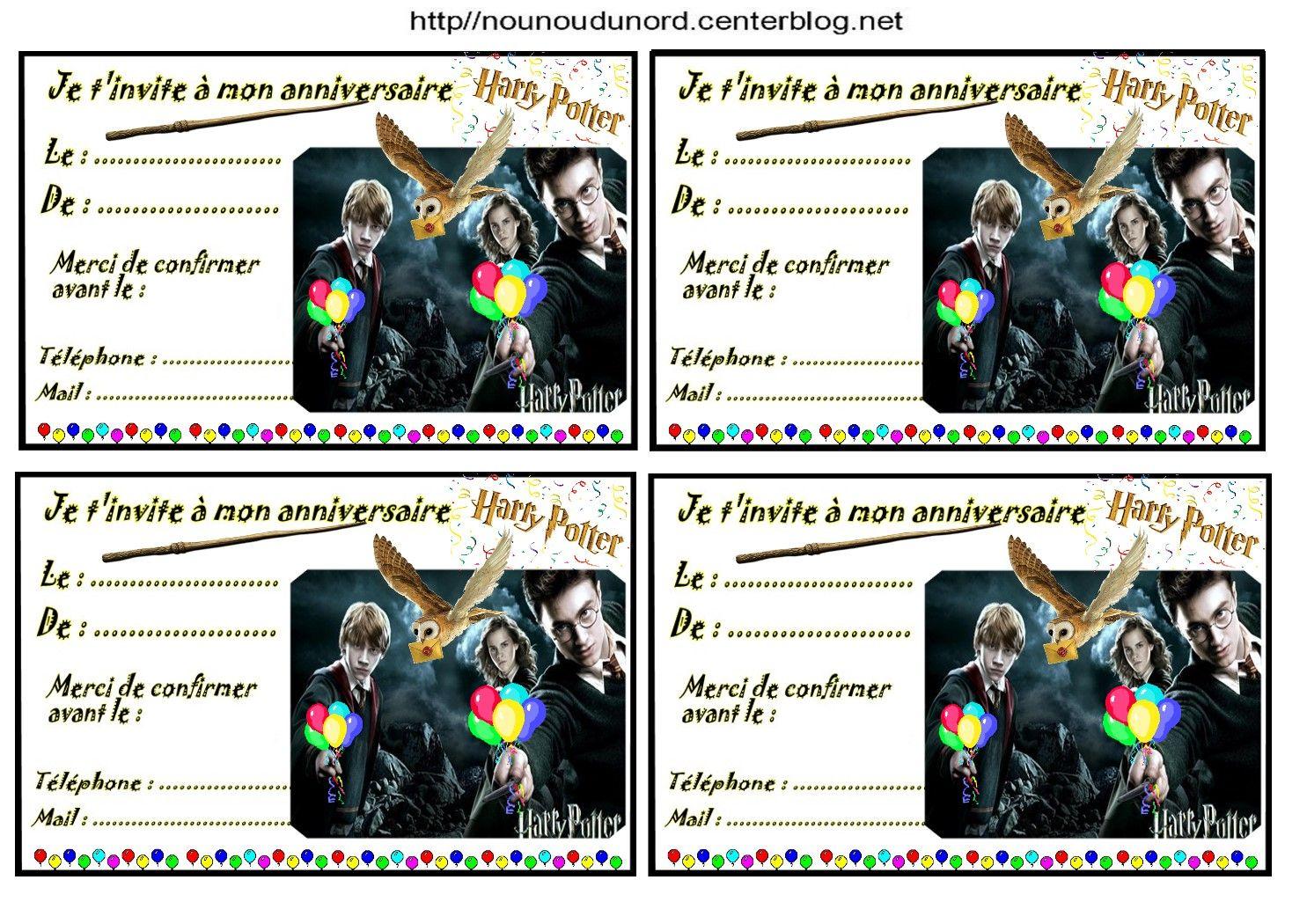 Etiquettes invitations Harry Potter pour anniversaire | Carte invitation anniversaire, Activité ...
