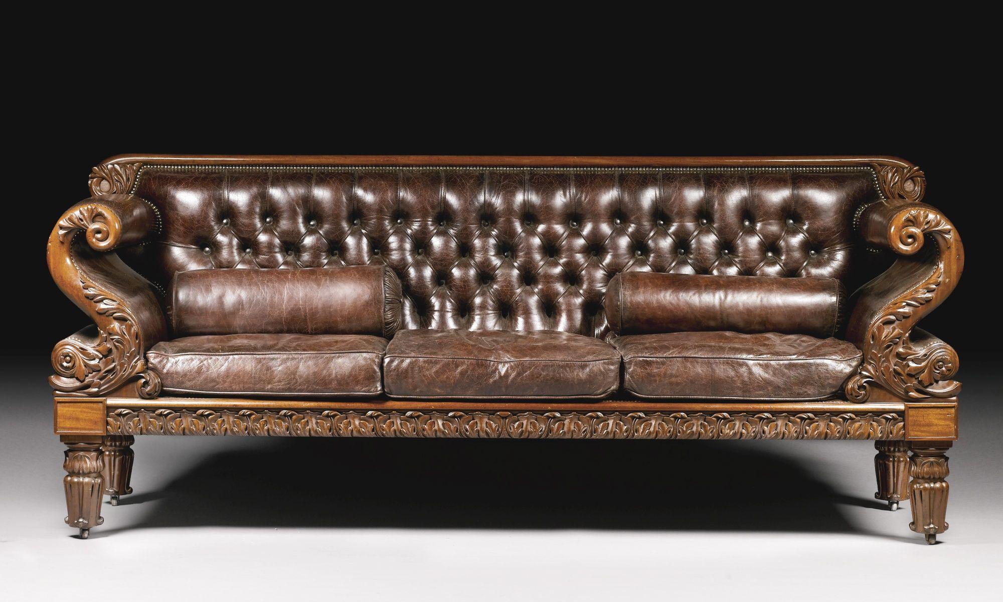 C1825 A George Iv Mahogany Three Seater Sofa Circa 1825 Estimate 7 000 10 000 Gbp 11 466 16 380usd Rococo Furniture Living Room Sofa Design Antique Sofa