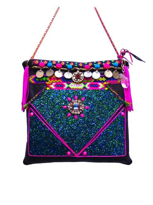 "The ""Thalia"" Handmade - Boho Luxury embellished leather bag by GreenEyeRocks"