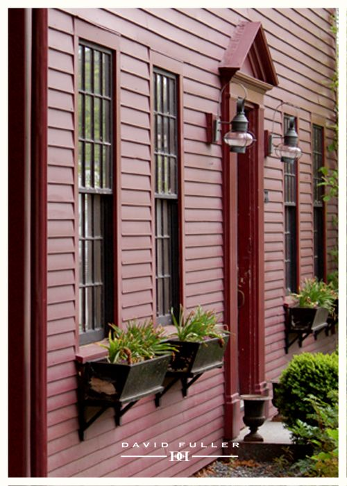 colonial red house with black window trim glass onion lights rh pinterest com Colonial House Colors Colonial Style Home Window