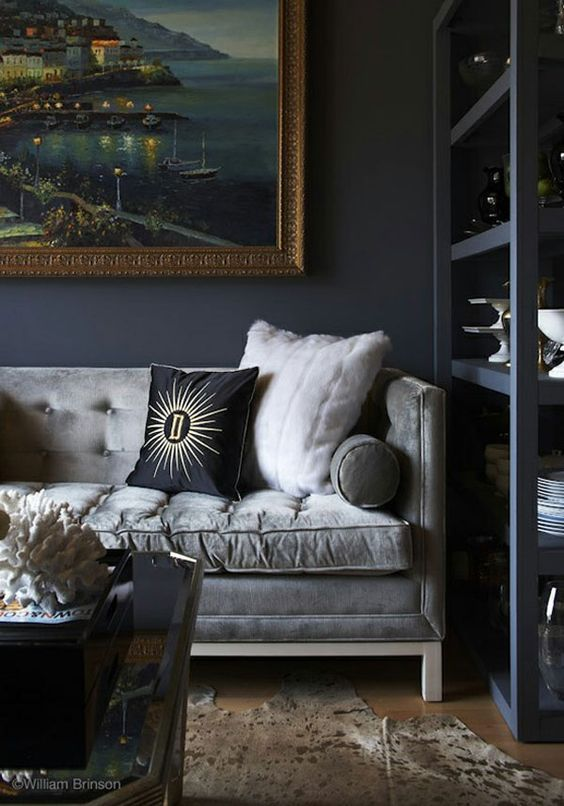 Grey Velvet Sofa Grey Sofa Living Room Dark Interiors Home Decor