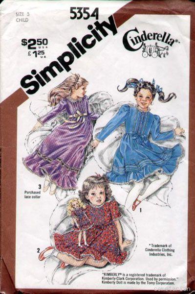 Simplicity 5354 Vintage 1980s Child\'s Cinderella Kimberly Doll Dress ...