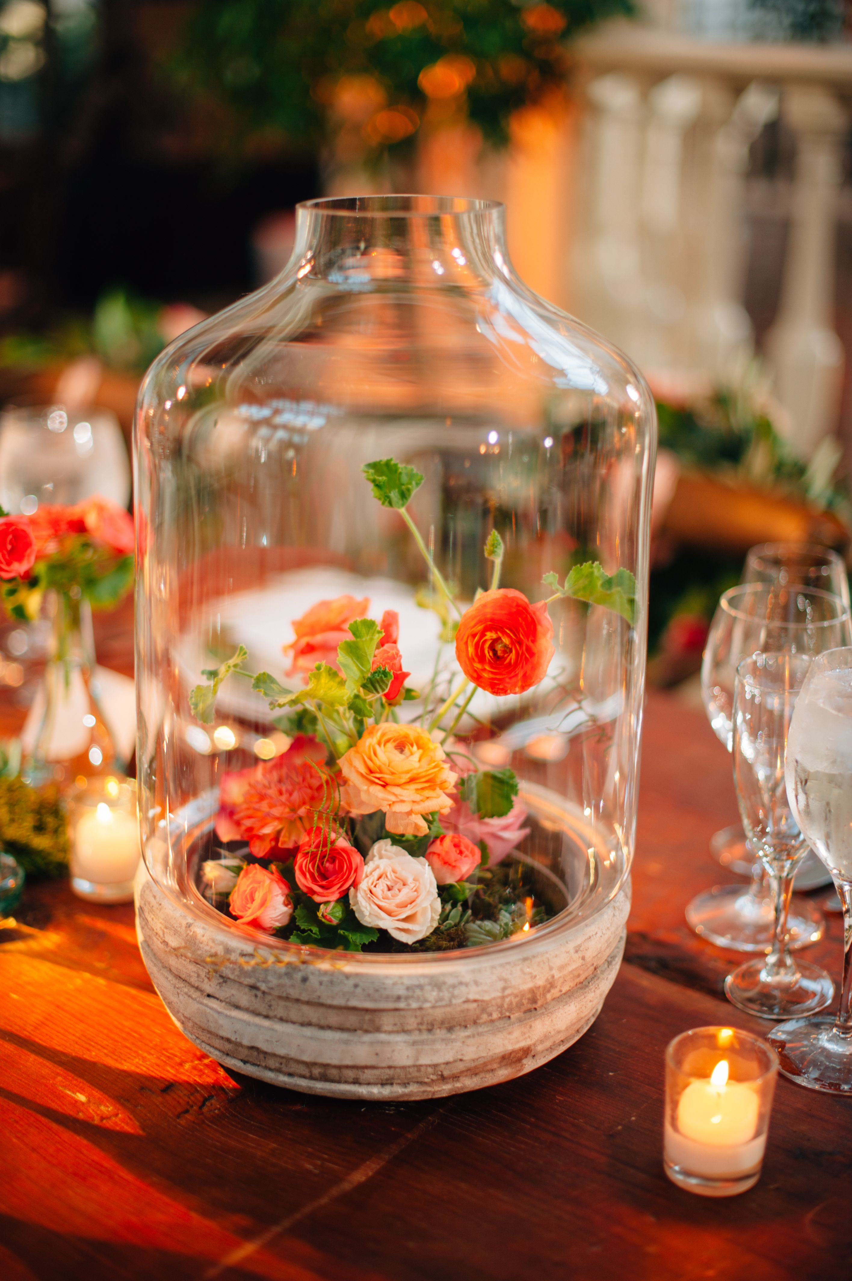 Centerpieces included bell jars filled with succulents