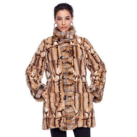 "Hal Rubenstein Reversible ""Denise"" Faux Fur Coat"