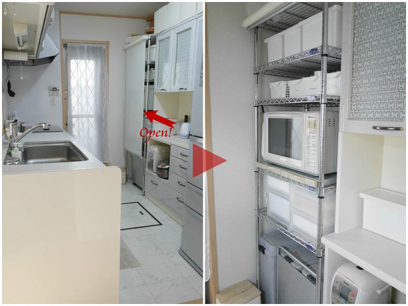 キッチンのオープンメタルラック 置いているものが丸見えをすっきり