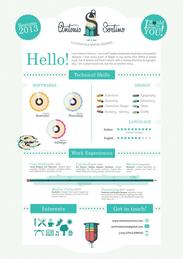 20 Cool Resume \ CV Designs Infographic resume, Infographic and - cool resume ideas
