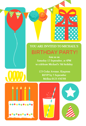 Colorful Childrens Party Birthday Invitation Template Free Greetings Island Boy Birthday Party Invitations Party Invite Template Birthday Invitations Kids