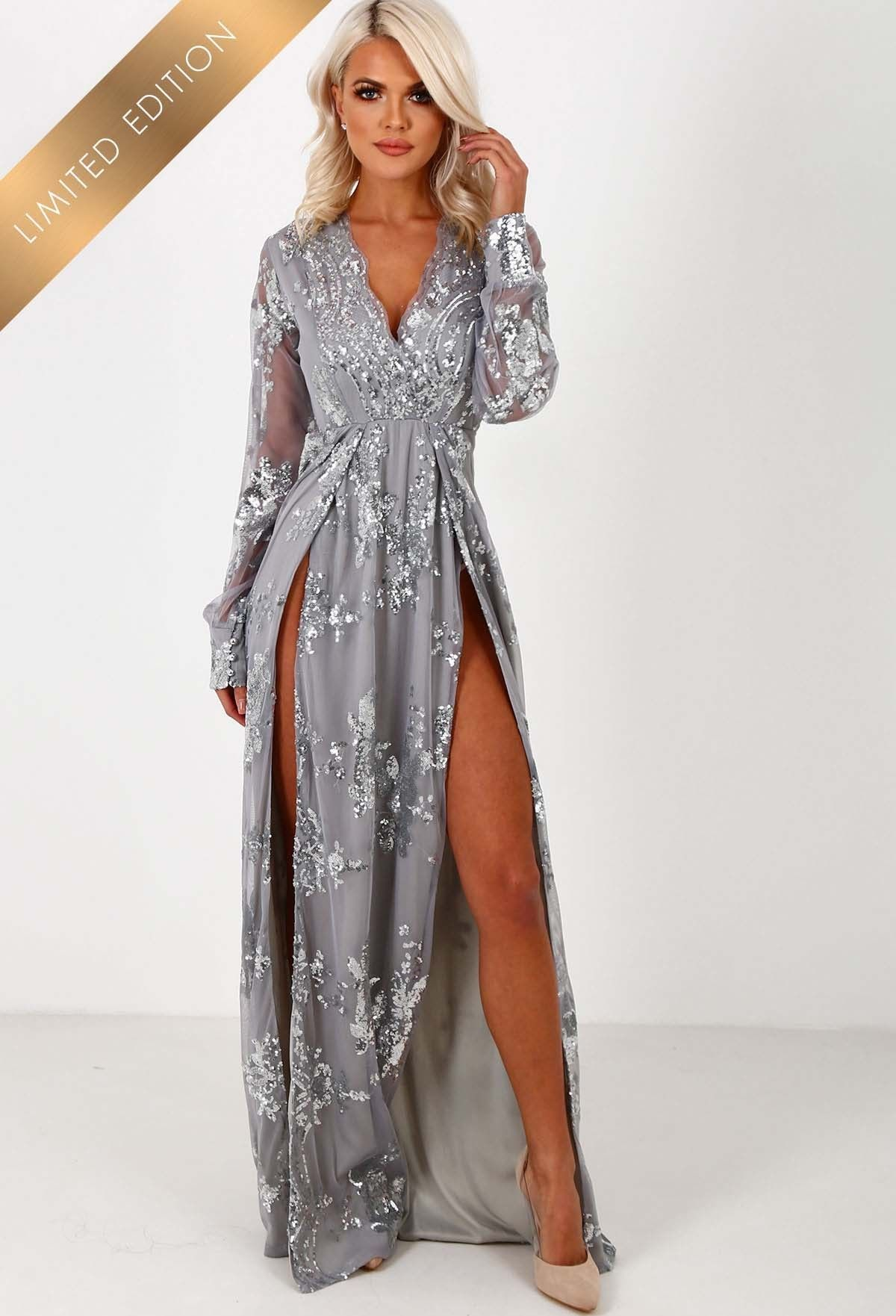 Limited Edition Everlasting Silver Sequin Long Sleeve Maxi Dress ...