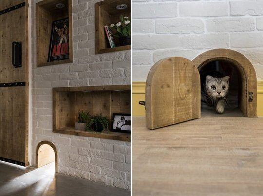 A Trio Of Homes With Super Cool Secret Spots For Cats Built In Cat Playground Cat Door Indoor Cat
