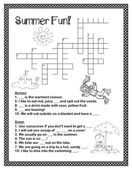 graphic regarding Summer Crossword Puzzle Printable identify Absolutely free Conclusion of 12 months - Summer time Crossword Basic Studying