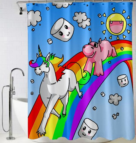 Cartoon Unicorn Horse And pig Shower Curtain