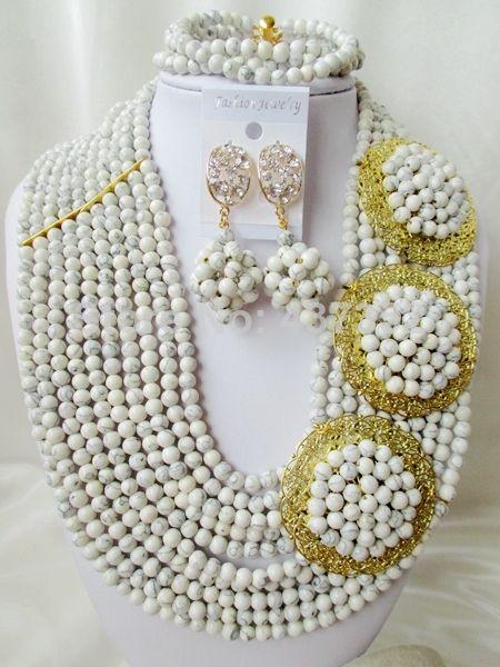 Fashion White Turquoise Necklace Nigerian Wedding African Beads Costume Jewelry Set 2014 New Free Shipping TC024 $68.86