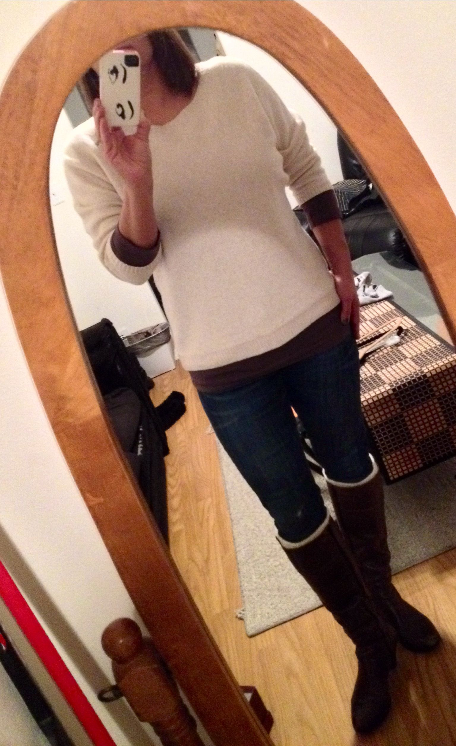 #cabi Brando Jean With Ruched Tee Under Hinge Button
