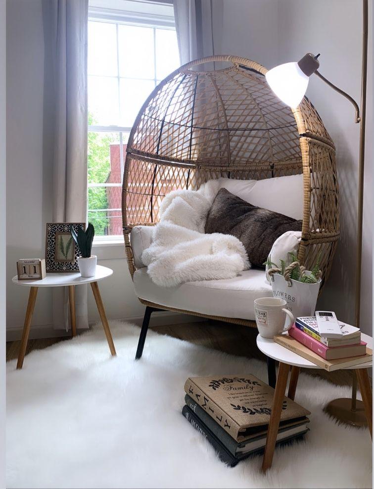 Better Homes And Gardens Ventura Boho Stationary Wicker Egg Chair Walmart Com In 2020 Cozy Room Decor Living Room Corner Bedroom Seating