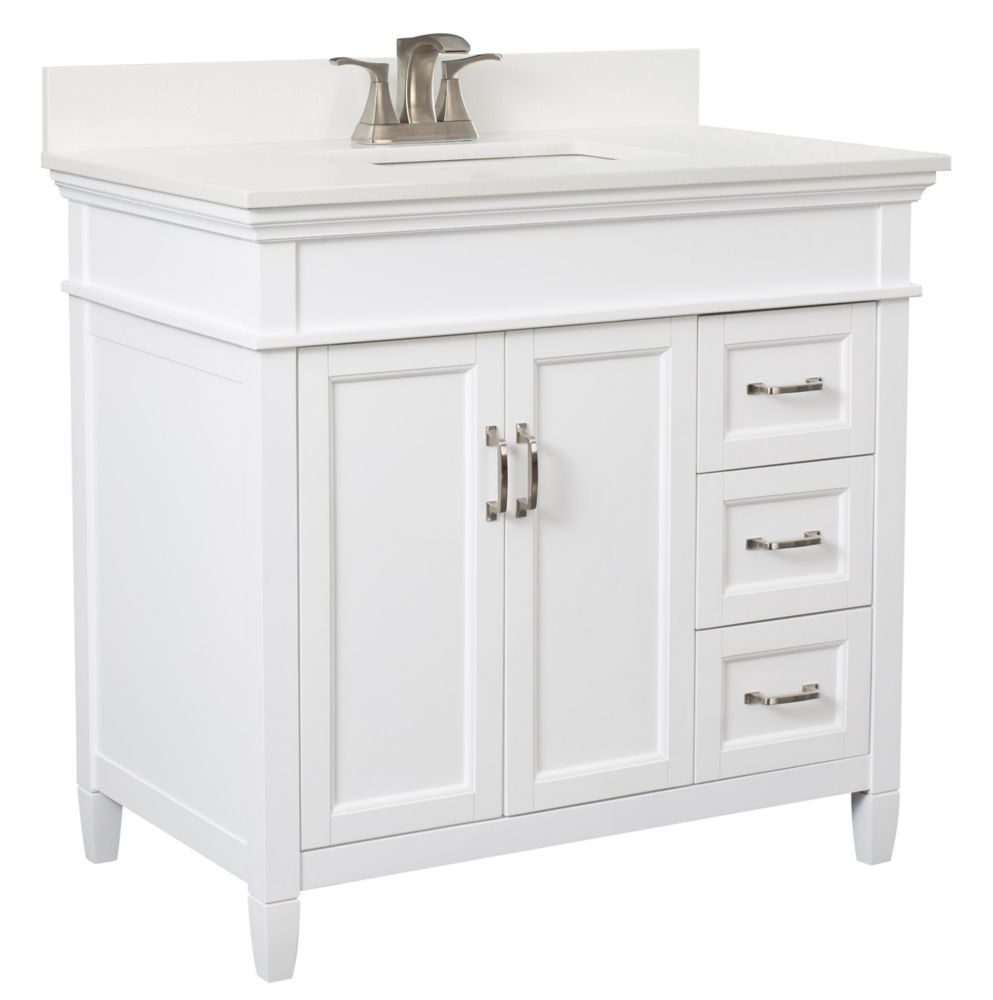 Ashburn 36 Inch Vanity Combo In White With Lily White Engineered Stone Top Vanity Combos 36 Inch Vanity Engineered Stone