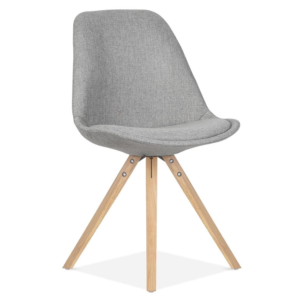 Grey Upholstered Dining Chairs Uk Stackable Plastic Lawn Eames Inspired Chair With Pyramid Style Solid Oak Wood Legs