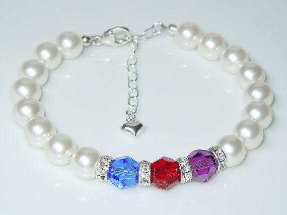 Swarovski White Pearl and Crystal Birthstone Bracelet (choose any birthstone colors) by BestBuyDesigns