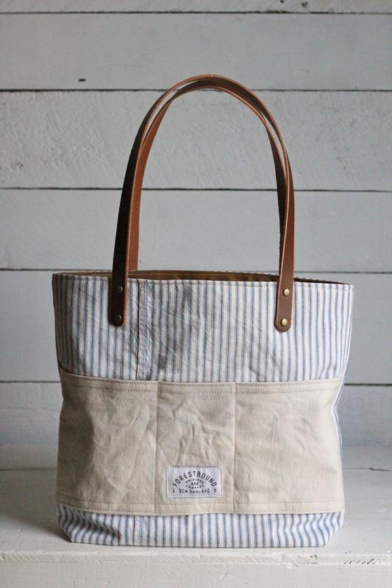 845fc0e23 1950's era Ticking Fabric Pocket Tote Bag | Bag | Bags, Ticking ...