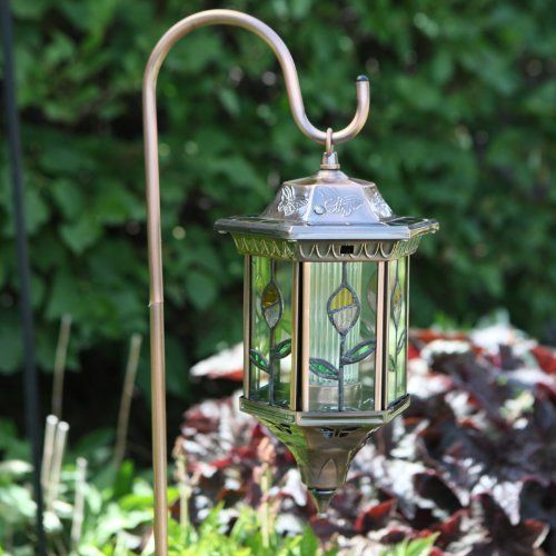 Homebrite Metal Solar Lantern Stained Glass Garden