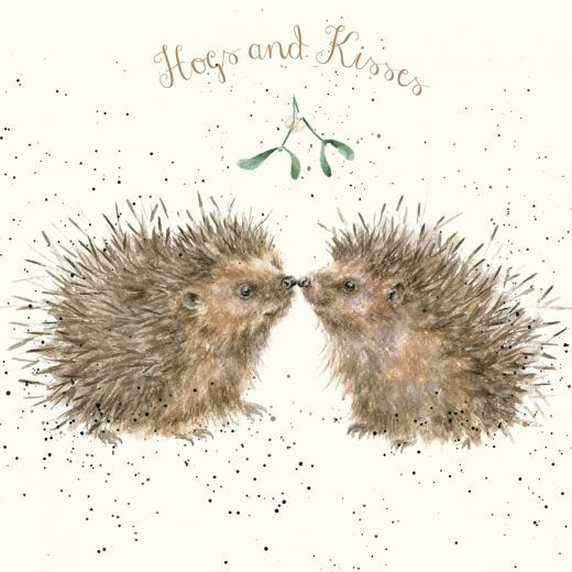'Hogs and Kisses' Christmas card