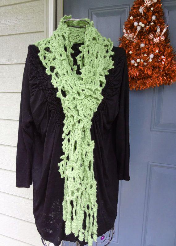 Long SCARF  Hand Crochet Irish Lace in Lovely Green... FREE SHIPPING...by VictoriaCrochet, $49.99 www.VictoriaCrochet.etsy.com/shop