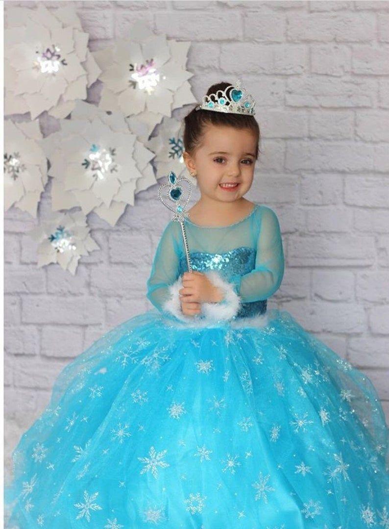 Frozen Elsa Tutu Dress Birthday Party Handmade Kids Dress
