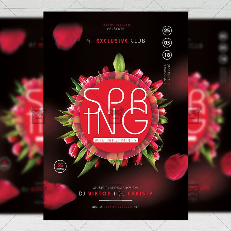 Minimal Spring Party Seasonal A5 Flyer Template Flyer Template