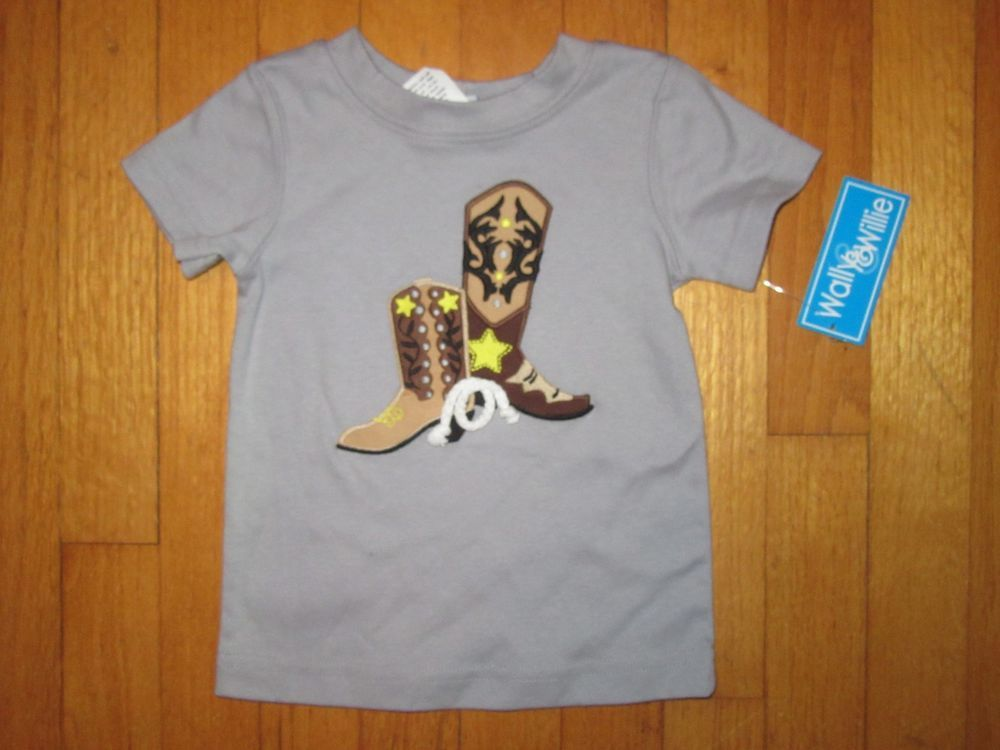 Nwt wally willie cowboy western boots applique shirt size
