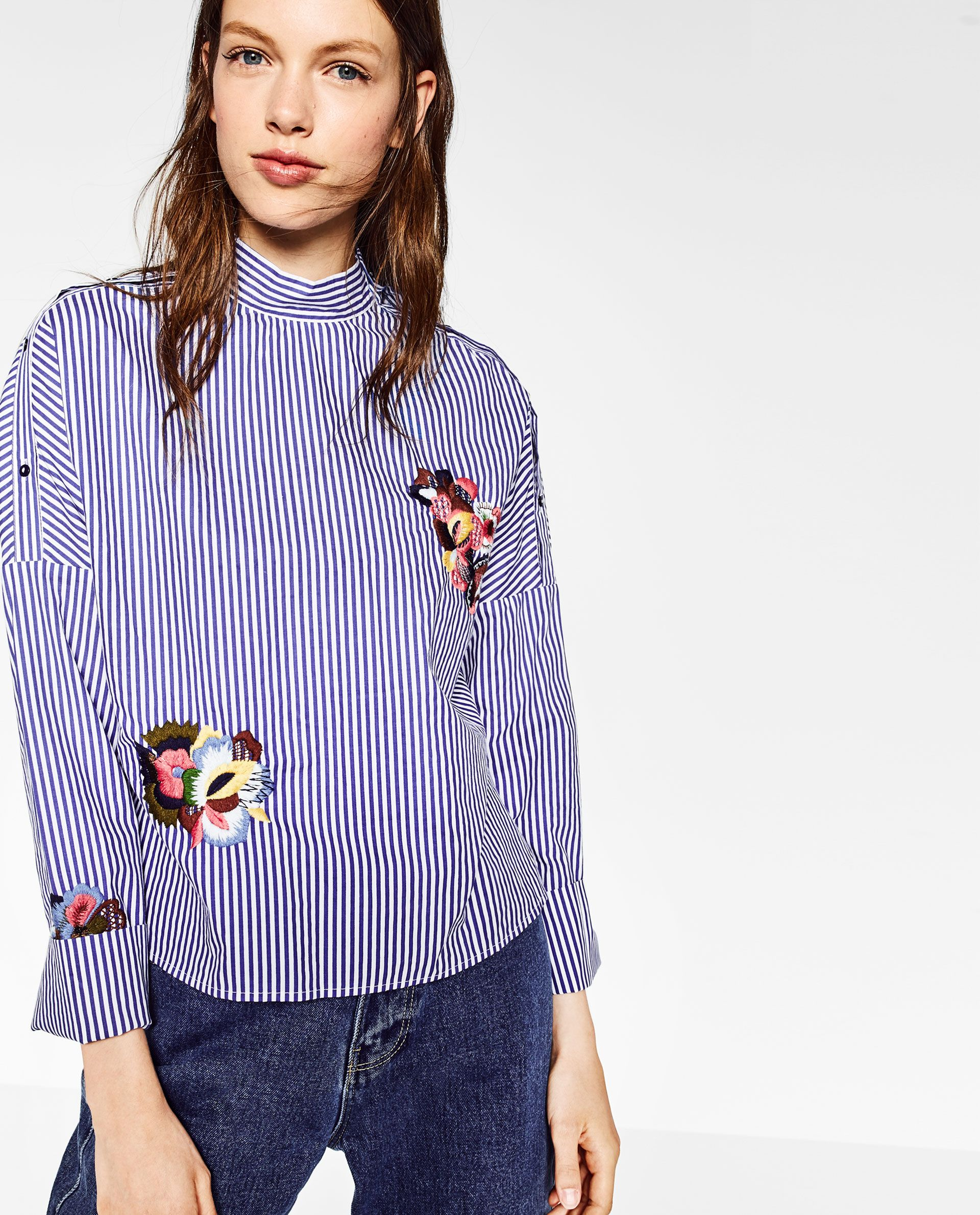 ZARA - WOMAN - FLORAL EMBROIDERED STRIPED SHIRT | varrando ...