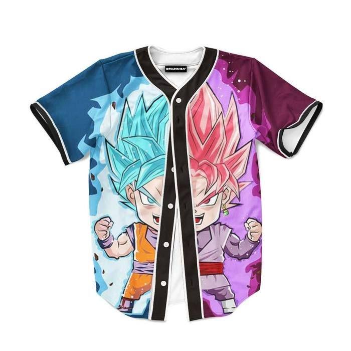 DBZ Goku SSGSS God Blue Rose Saiyan Chibi Baseball Jersey  dragonball  dbz   jersey c813b43f1