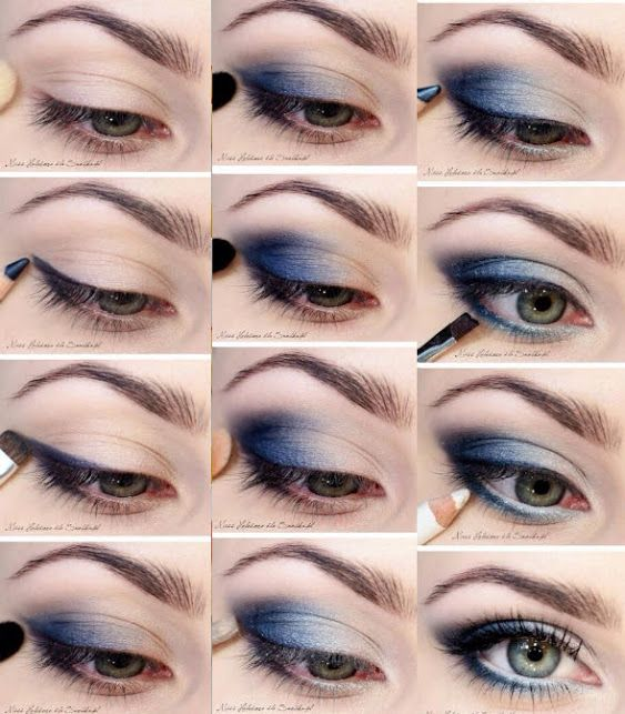 Blue smokey eye para el día Mujer al natural Maquillaje - maquillaje natural de dia