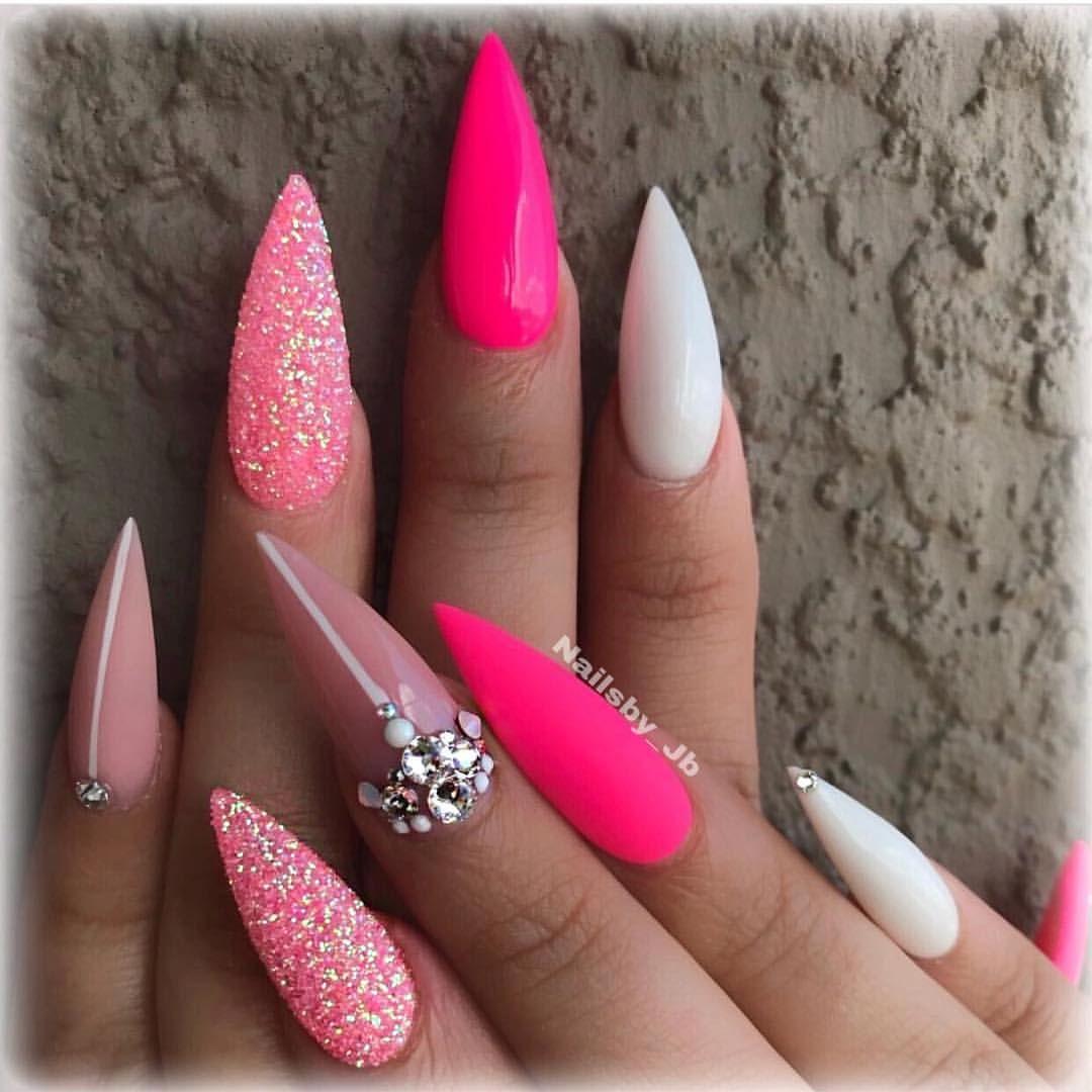 Nails Unas Stilettonails Pointynails Hotpink Sugarnails