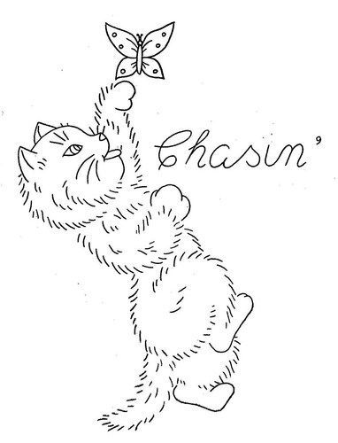 Hand Embroidery Pattern 3183 Sparky the Kitten for Towels