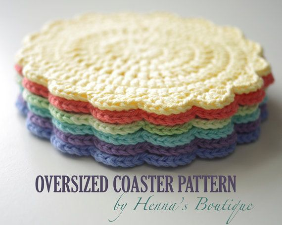 Crochet Coaster Pattern - Oversized Coaster - PDF