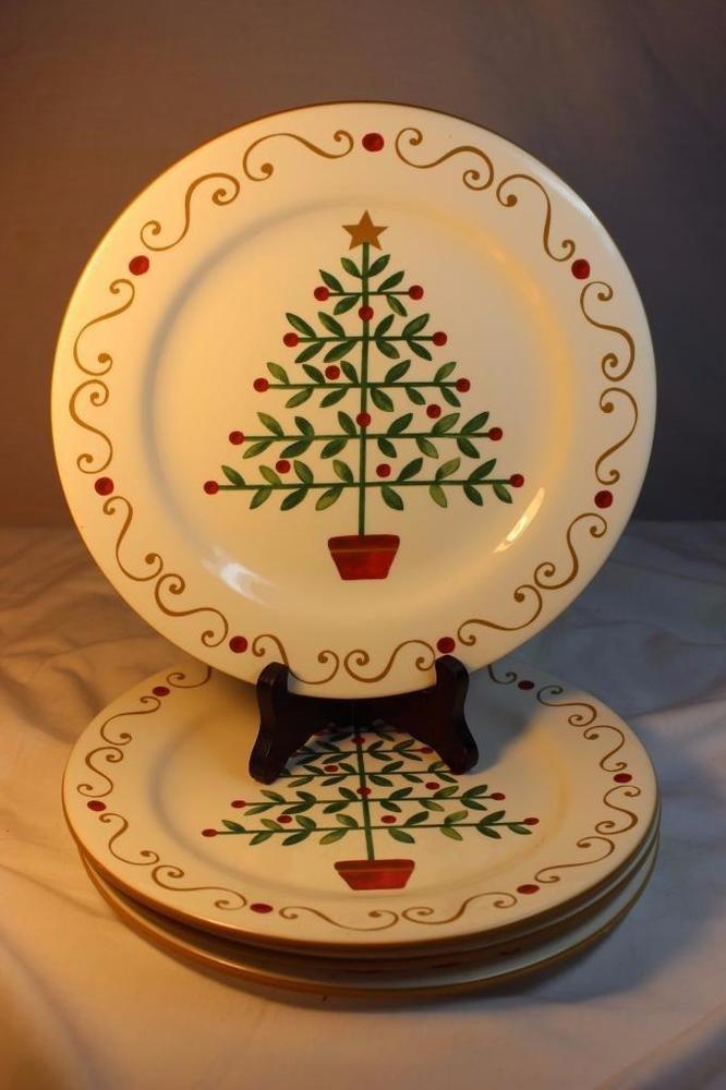 Oh Tannenbaum Oh.4 New Rare Pier 1 Oh Tannenbaum Christmas Tree Dinner Plates Gold