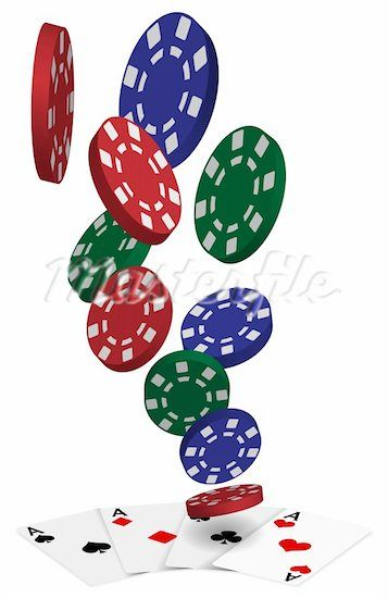 Playing Cards Four Aces And Poker Chips On White Background Stock Photos Poker Chips Cards Poker