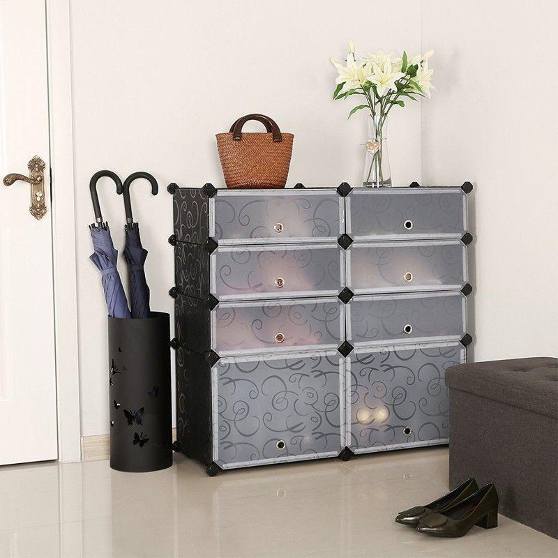 Songmics Diy Shoe Rack Plastic Shoe Storage Organizer Cabinet With Doors Black Ulpc25h Home Organization Home Decor Decorating Small Spaces