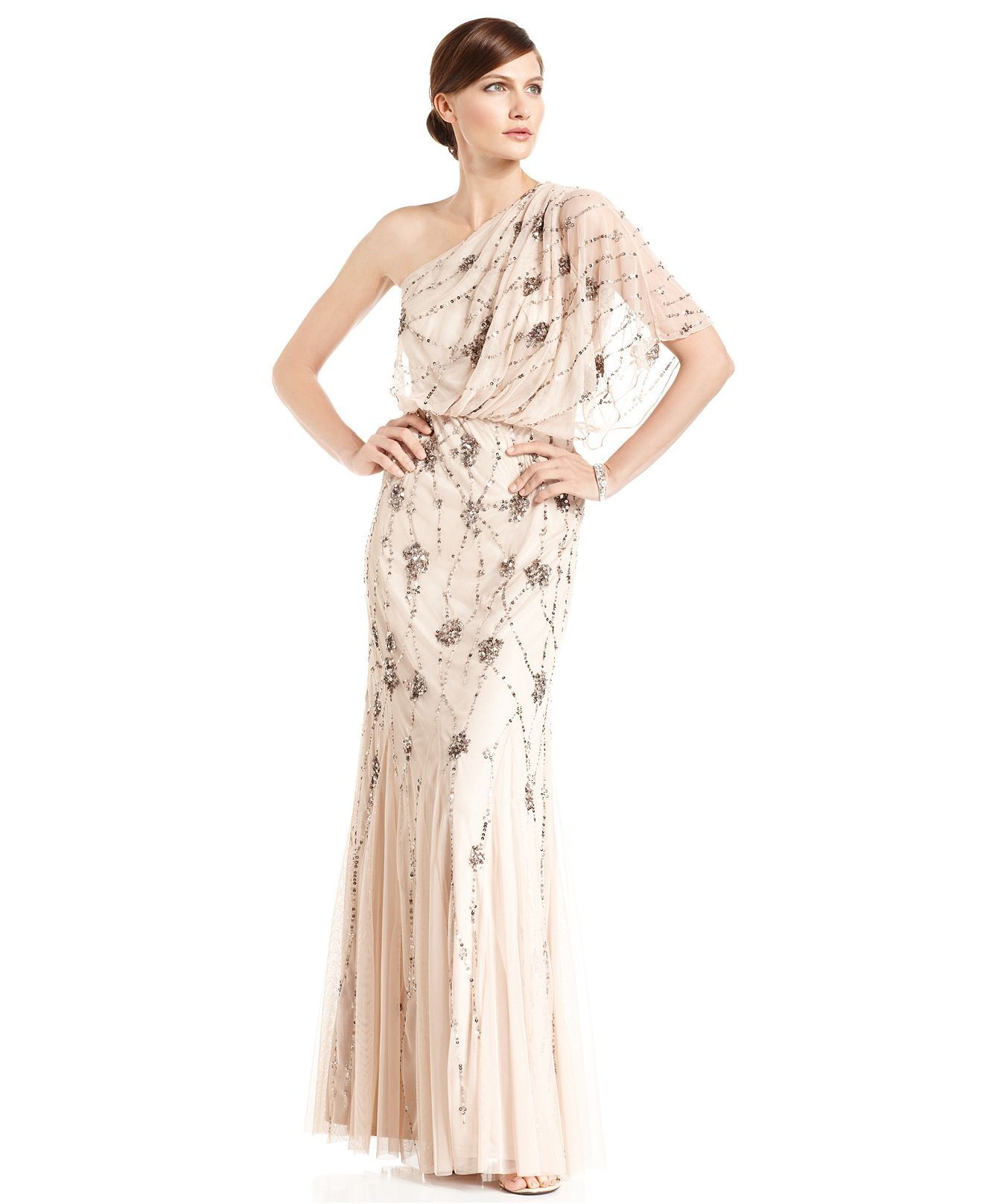 Adrianna Papell Dress Short Sleeve One Shoulder Beaded Blouson Gown Womens Dresses Macy S Gowns Womens Wedding Dresses
