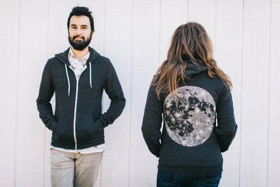 Moon Zip Up Hoodie Sweatshirt Fathers Day Gifts, Unisex Wanderlust Fleece Sweatshirt Outdoor Gift Men, Black Zip Hoodie His or Hers Clothing