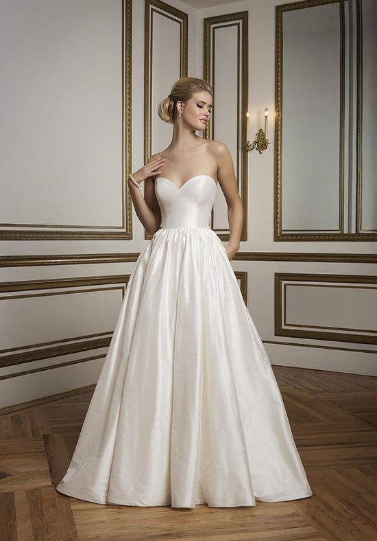 Sweetheart silk ball gown wedding dress with cathedral train and ...