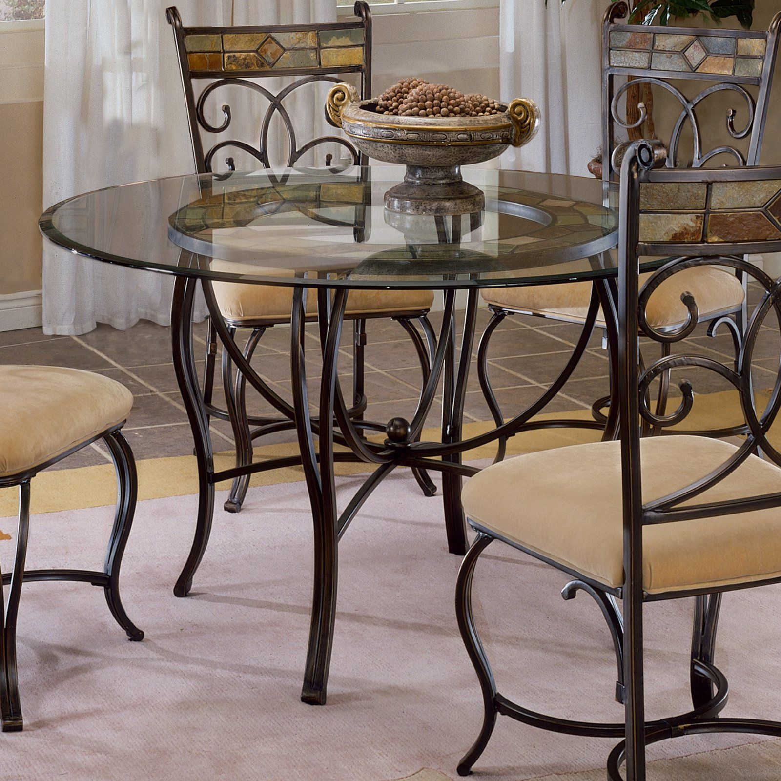 Pompei 48 Inch Dining Table With Glass Top Black Gold