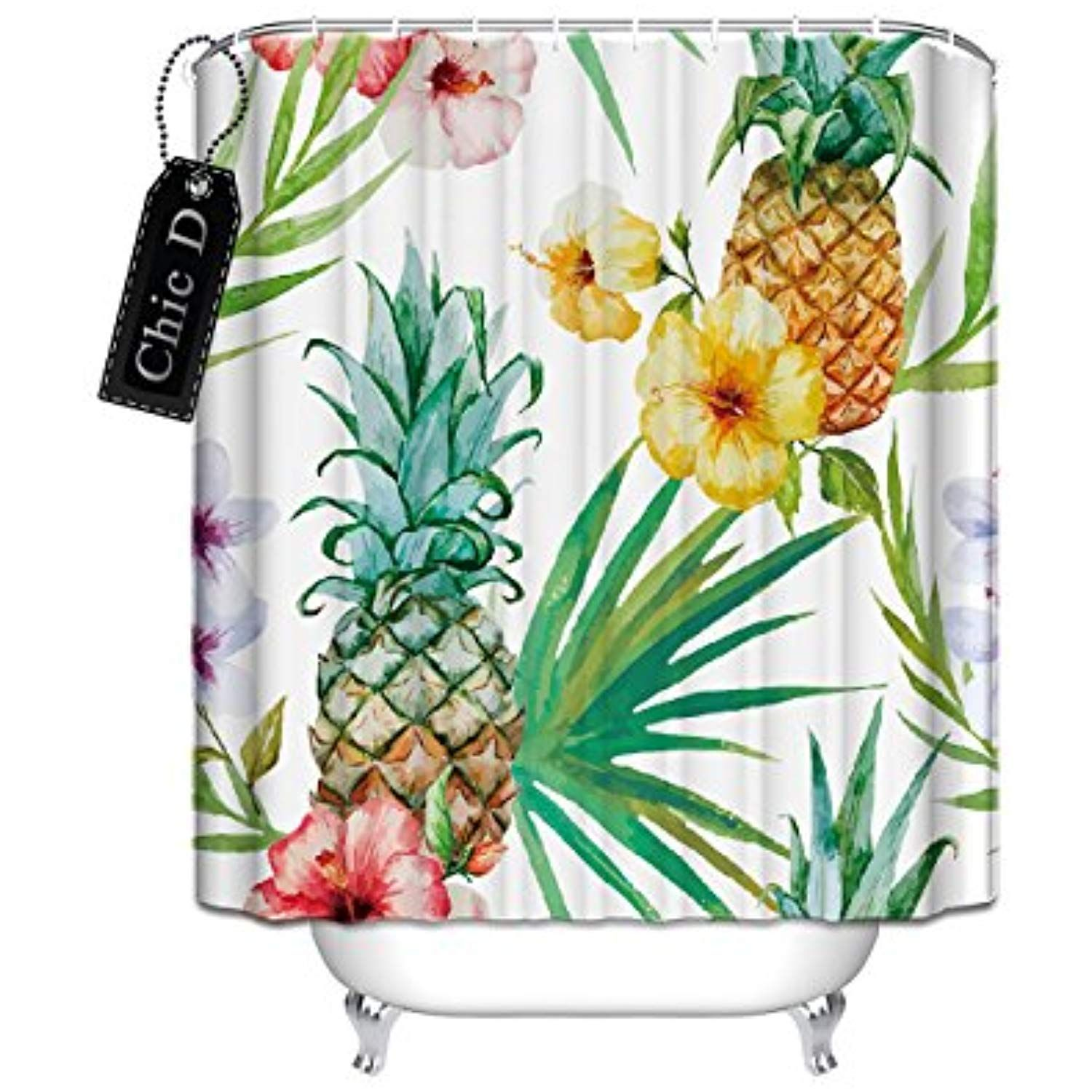 Tropical Plants Flowers Pineapple Shower Curtain 36 X 72 Inch Long