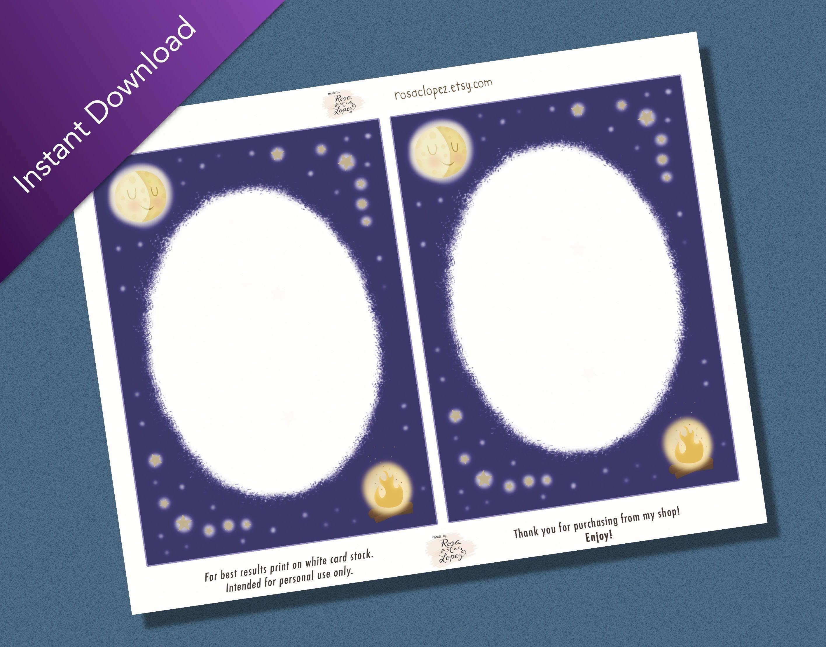 Superbe DIGITAL DOWNLOAD  Summer Scrapbook Notecards, Summer Nights Notes, 8.5 X 11  Sized Sheet