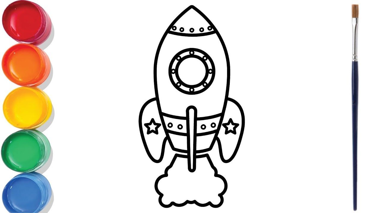 Rocket Drawing And Coloring For Kids Rocket Drawing Coloring For Kids Happy Birthday Wishes Images