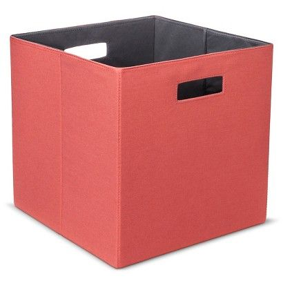 Threshold™ Fabric Cube Storage Bin   Patterned   I Like The Coral, Teal,  And Gray Pattern Colors!   $8.99