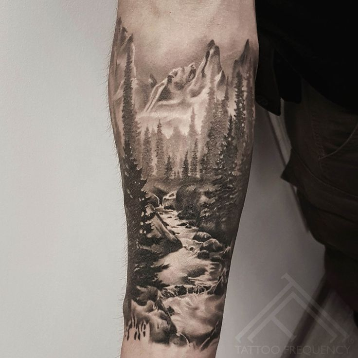 Photo of Completely healed black and gray landscape tattoo on the man's arm. K … – Easter