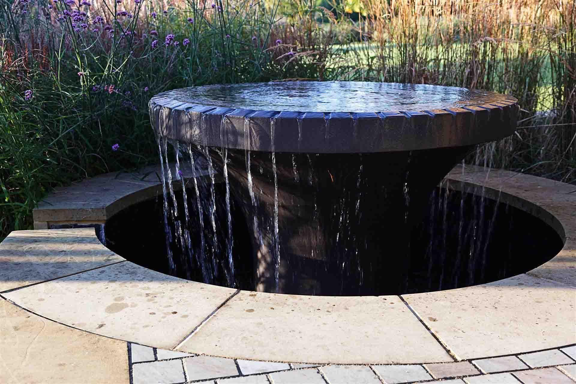 Bespoke Water Feature In Contemporary Garden By Rose Lennard