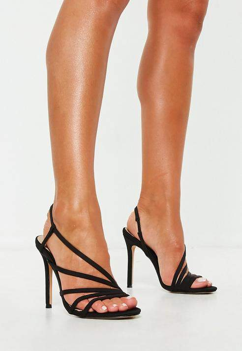 48cedaa240c0 Missguided Black Asymmetric Multi Strap Heel Sandal