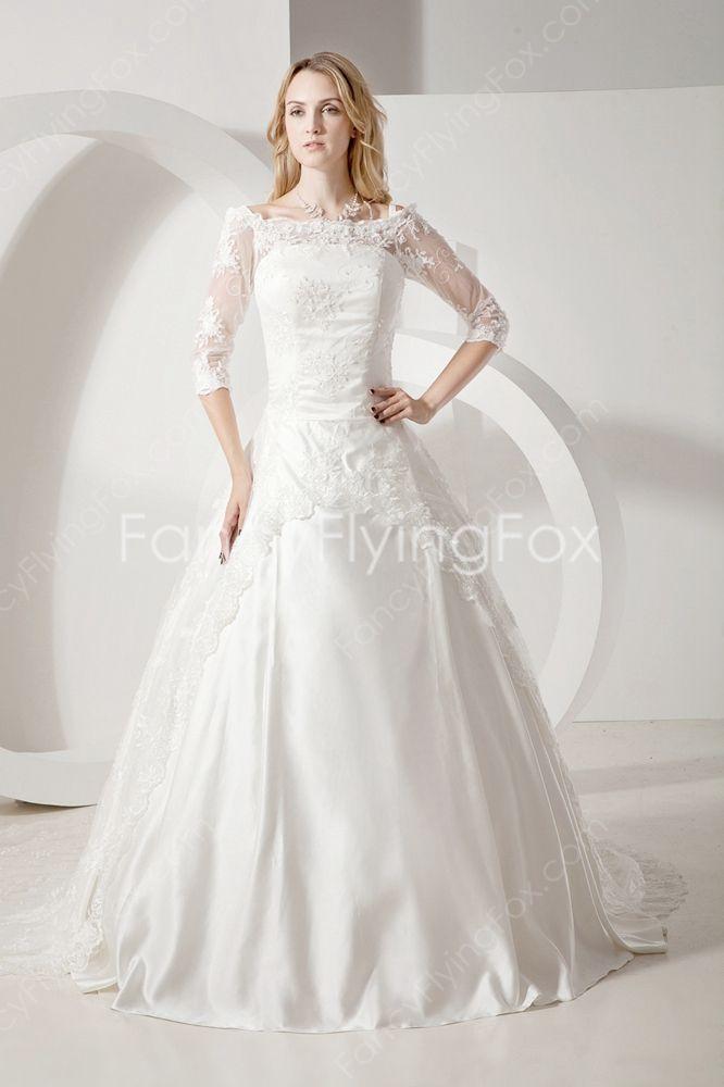 2df2b7ffca 3 4 Sleeves Off The Shoulder Ball Gown Full Length Cinderella Wedding Dress