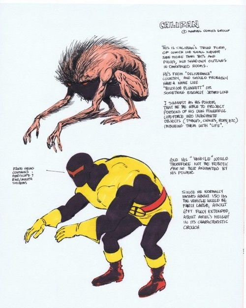 Concept drawing of Caliban by John Byrne from 1978.